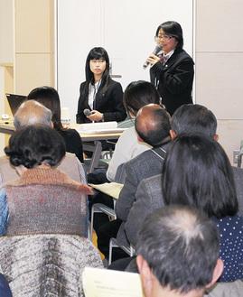 被災経験を元に災害への備えなどについて語る武山さん(右)と添田さん