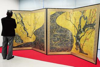 ラディアンで展示された光琳の国宝「紅白梅図屏風」のレプリカ