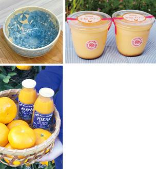 (左上)高田さんの陶芸作品(右上)有精卵の幸福プリン(下)大津みかんジュース