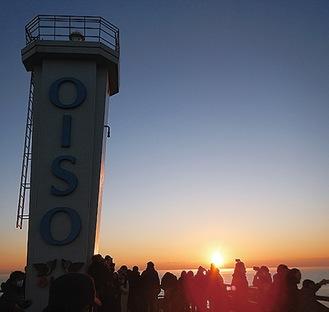 灯台から日の出を拝む