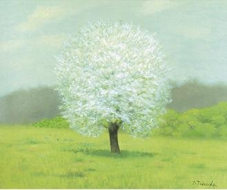 与謝蕪村の句「長き日に ましろに咲ぬ なしの花」を題材にした作品