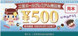 「二宮エールプレミアム商品券」(町提供)