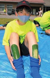 手作りのすね当てを着ける伊勢原FCフォレストの小学生