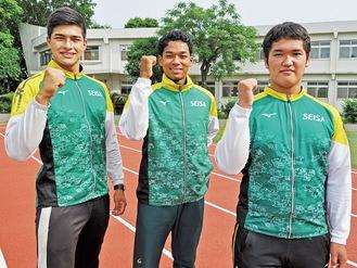 関東大会への出場を決めた(左から)佐藤さん、坂田さん、松岡さん