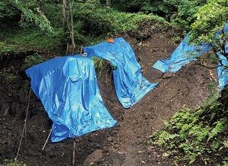 吾妻山公園の土砂崩れ現場