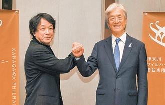 次期音楽監督に就任する沼尻氏(左)と上野理事長
