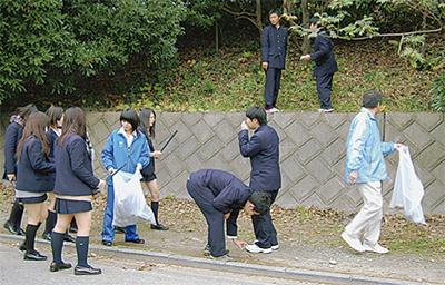 二宮高校生が地域清掃