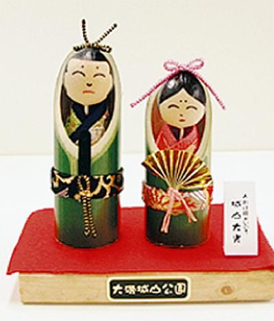 竹のおひな様飾り