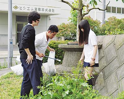 二宮高生徒が地域清掃