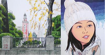 水彩画と似顔絵二人展