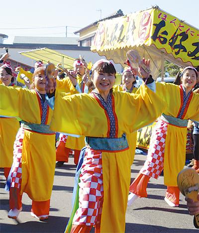 """梅沢旧東海道で""""よさこい"""""""