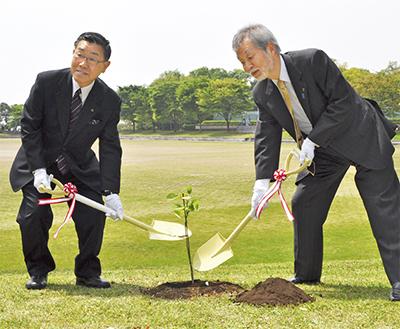 新島襄ゆかりの地に植樹