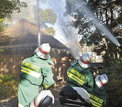 鴫立庵で消防訓練
