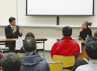 議論する加藤市長(左)と中津川さん