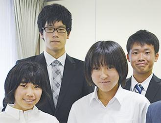 表彰式に出席した伊世井太智さん、戸塚克さん、後藤真奈美さん、原田帆菜さん(左上から時計まわり)