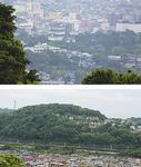 石垣山の頂上から見る小田原城(上)と中腹から見る富士山砦(下)