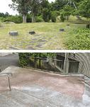 辻村公園東の高台が秀次の陣場(上)、関東学院大の構内に残る堀跡の表面表示(下)