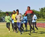 エリトリア選手が練習