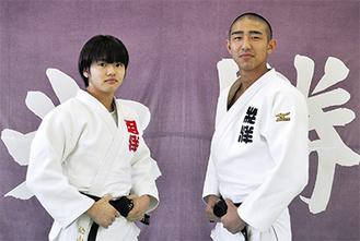 全国大会出場を決めた込山さん(左)と長谷川君