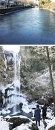 お堀も滝も凍る