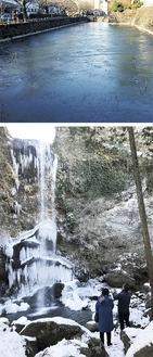 凍った小田原城址公園のお堀(上)と夕日の滝、ともに26日撮影
