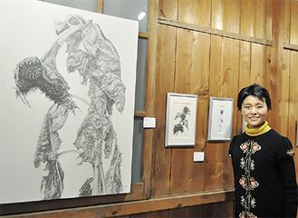 鉛筆で描いた向日葵と安藤さん