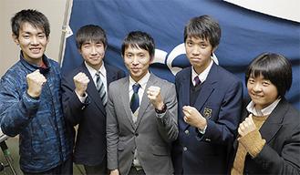 上位を誓う小田原市選手団。左が樽木選手、中央が三宅主将