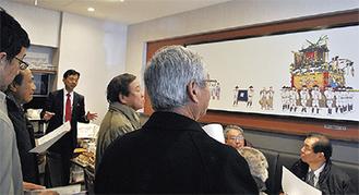杏林亭を視察する森町商工会のメンバー