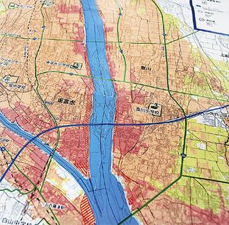 新たに赤ラインで示された河岸浸食や氾濫流エリア