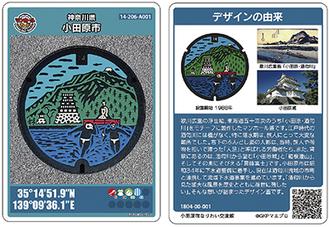 小田原市マンホールカード。表面(左)には写真と設置位置情報が、裏面にはデザインの由来などが記載されている