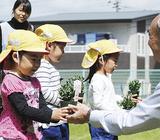 苗を受け取る園児ら