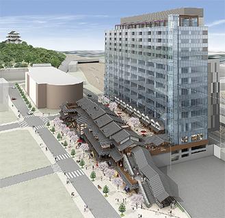 地上3階建ての商業棟と地上14階、地下1階建ての高層棟の再開発ビル(完成イメージ)