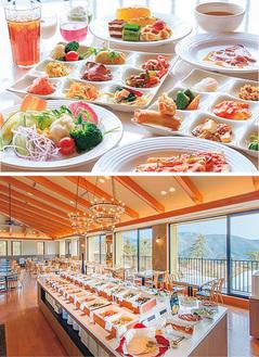 60種以上の料理と眺望も素晴らしい店内