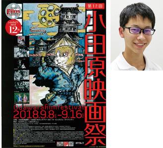 清水君(右)と第12回小田原映画祭ポスター