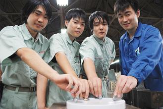 左から金松君、高中君、佐々木君、橋本顧問