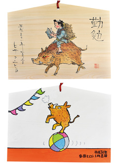 漫画家のヒサクニヒコさん(上)と多田ヒロシさんの作品