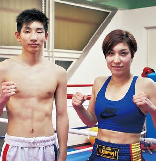 右から、復帰戦に挑む遠藤さん(リングネーム:RINA)と、昨年11月にプロデビューした鈴木さん