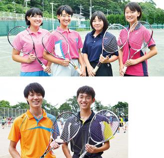(上・左から)藤田・大木ペア、川嶋・伊東ペア(下)和田・小宮ペア