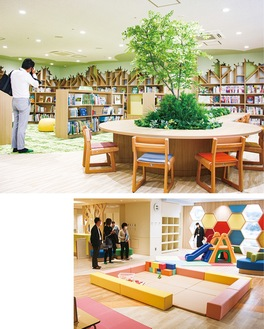 おだぴよ内の広場(右)。図書館には緑を配したエリアも