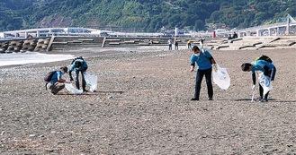 海岸でごみを拾う参加者。45リットル袋で30個以上を回収した