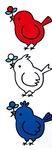 同館のマスコットキャラクター赤・白・青の小鳥