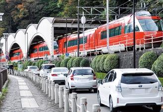平日でも渋滞が多い湯本駅周辺