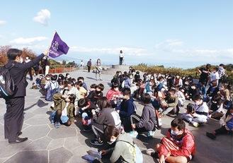 静岡県の日本平を訪れた酒匂小=同小提供