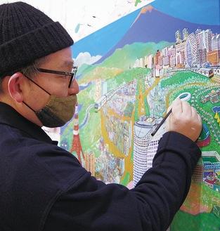 910mm四方のキャンバスに街並みが描かれていく