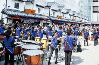 Students of the brass band in Odawara