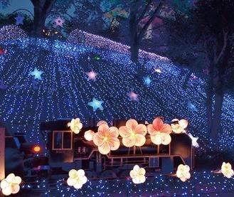 梅の花で装飾された豆汽車(豆汽車は雨天時展示無し)