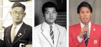 左から原さん、内野さん、松下さん=樫友会史料委員会提供