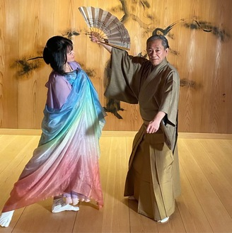 Mrs. Ozaki, left, and Mr. Shigeyama in Kyoto