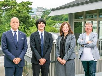 三の丸地域循環創造事業体のメンバー。左から草山明久さん、片柳耀さん、前島真弓さん、鈴木伸幸さん=小田原ツーリズム提供