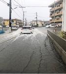 冠水した市内の道路